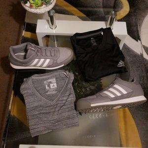 Adidas shoes & two tshirts size L